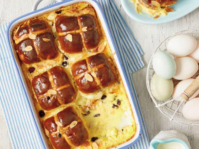 hot cruss bun bread pudding - easter bakes: 4 easy recipes - kitchen - goodhomesmagazine.com