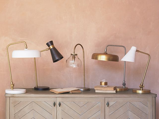 line of gold desk lamps - 6 of the best statement desk lamps - home office - goodhomesmagazine.com