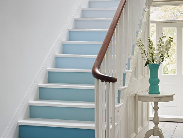 white and blue painted stairs