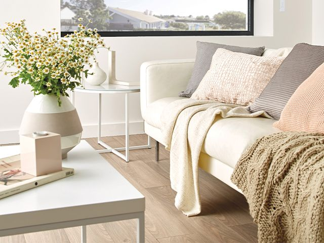 white living room scheme - how to update your living room for spring - living room - goodhomesmagazine.com