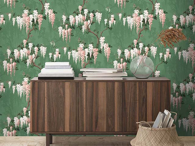 wysteria wallpaper walnut cabinet - what is the most popular interior style according to Google? - news - goodhomesmagazine.com