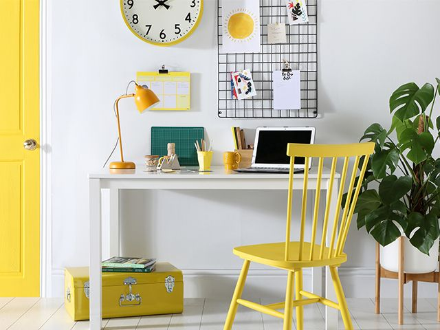 yellow sunny home office - how to clear your home and mind according to an interior expert - inspiration - goodhomesmagazine.com