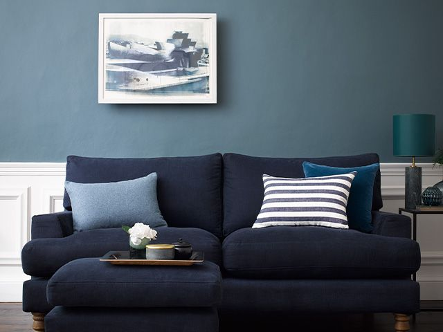 blue fabric classic sofa - win a room makeover for a frontline NHS worker - news - goodhomesmagazine.com