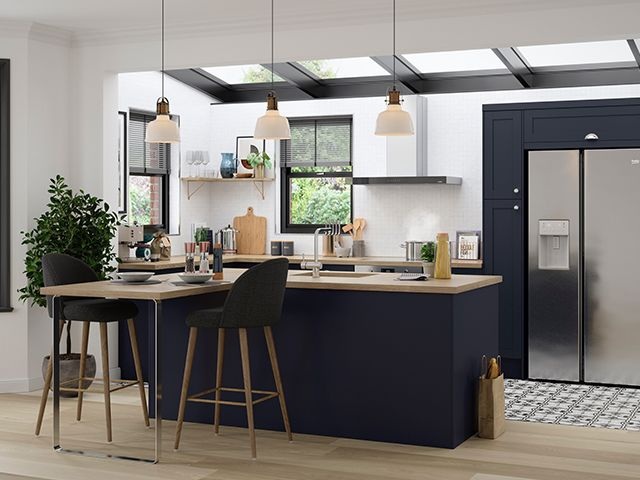 navy and wood kitchen - win a magnet kitchen for a key worker - competitions - goodhomesmagazine.com