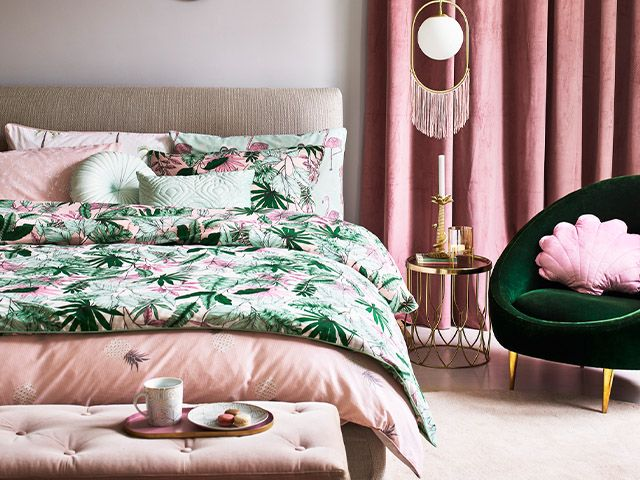 pink velvet bedroom - pink bedroom styling tips for a grown-up space - inspiration - goodhomesmagazine.com