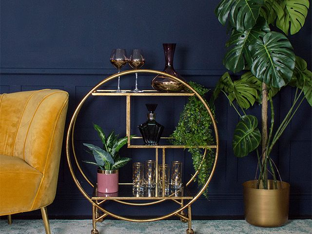 cocktail trolley with plants - 5 of the best artificial houseplants - shopping - goodhomesmagazine.com