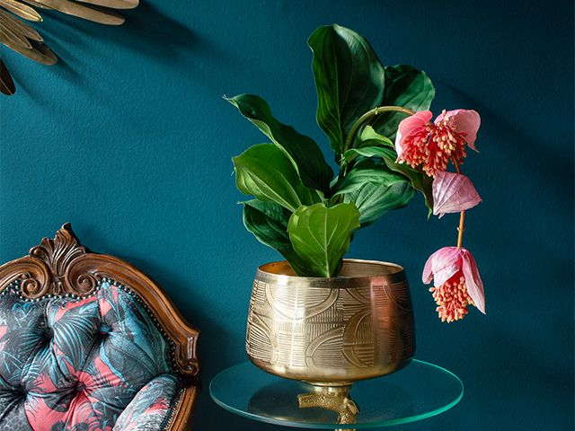 faux plant with pink flower - 5 of the best artificial houseplants - shopping - goodhomesmagazine.com