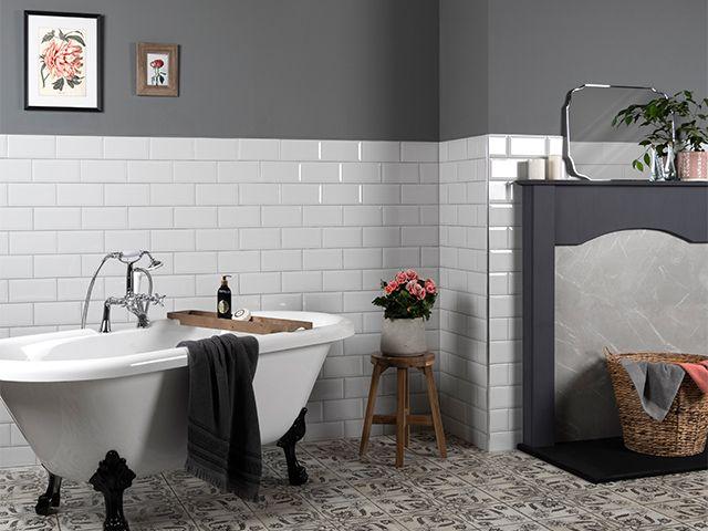 grey bathroom with white metro tiles - 5 unique styling tips for grey bathrooms - bathroom - goodhomesmagazine.com