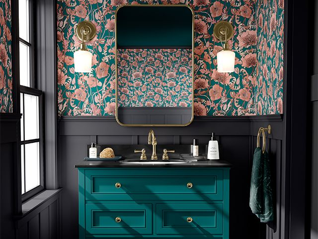 wallpapered quirky bathroom - 7 accessories for quirky bathrooms - bathroom - goodhomesmagazine.com