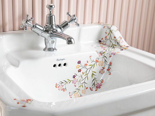 burlington bathroom sink on pedestal with illustrated blossom - goodhomesmagazine.com