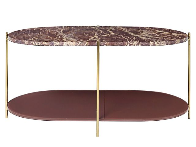 Rockett St George Wine Red Oval Marble coffee table