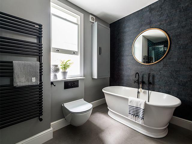 black bathroom radiator - take a look at this stylish family bathroom with statement tiles - bathroom - goodhomesmagazine.com