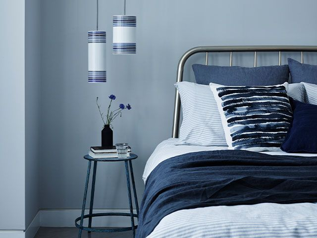 blue calm bedroom - top tips to beat pandemic stress and have a good nights sleep - bedroom - goodhomesmagazine.com