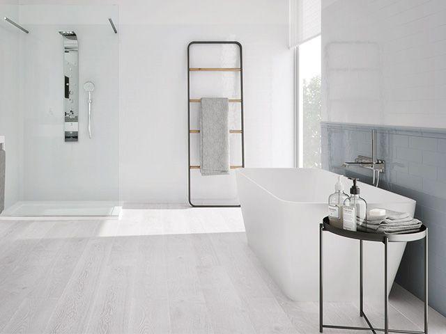 black storage ladder white bathroom - 5 creative white bathroom ideas - bathroom - goodhomesmagazine.com