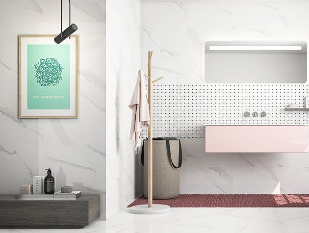 modern bathroom with matching wall and floor tiles