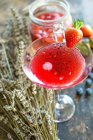 strawberry prosecco cocktail - 3 cocktail recipes to celebrate national prosecco day - kitchen - goodhomesmagazine.com