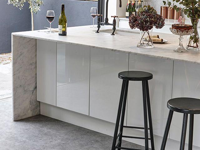 concrete lvt in a modern kitchen - goodhomesmagazine.com