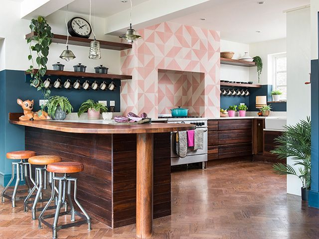 colourful kitchen with spot lighting. photo: colin poole - goodhomesmagazine.com