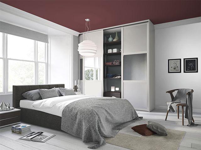 dark burgundy ceiling in bedroom - 6 creative bedroom paint ideas - bedroom - goodhomesmagazine.com
