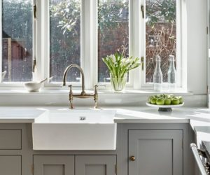 shaker kitchen butler sink - take a tour of alex and olivia from love island kitchen makeover - home tours - goodhomesmagazine.com