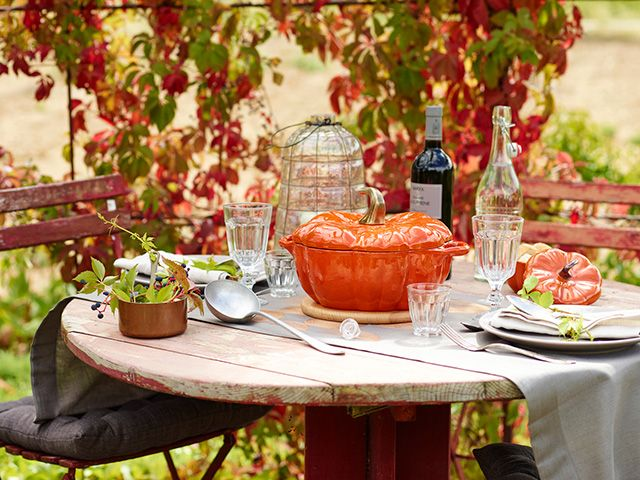 staub pumpkin cocotte on an alfresco dining table - competition - goodhomesmagazine.com
