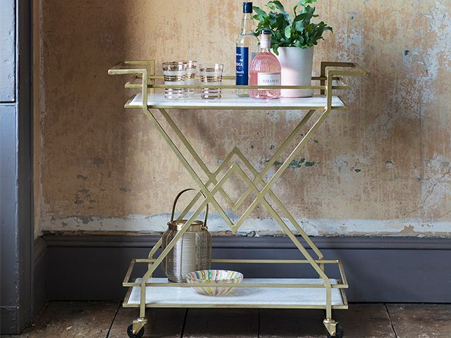 art deco cocktail trolley - 6 styling ideas for filling an empty corner - inspiration - goodhomesmagazine.com