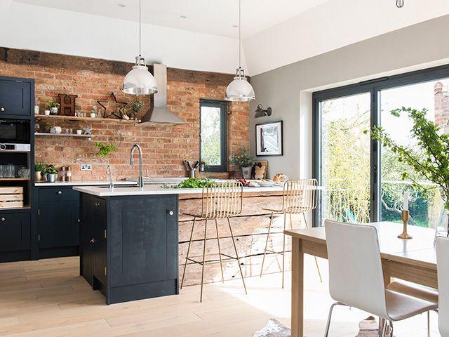 kitchen with exposed brick wall - inspiration - goodhomesmagazine.com