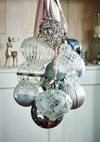 silver and blue christmas baubles