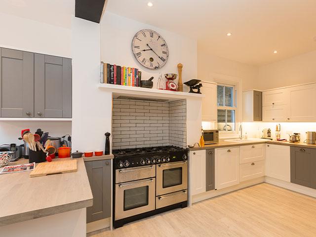 two tone grey and white kitchen