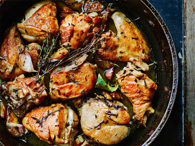 Garlicky Chicken in a heavy-based pan