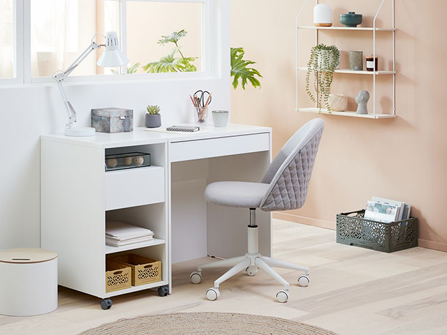 Modern home office with swivel desk chairs