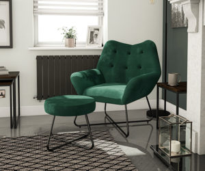 cheap velvet armchair and stool from B&Q - goodhomesmagazine.com