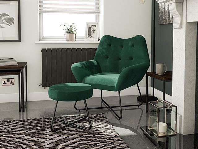 cheap velvet armchair and stool from B&Q - goodhomesmagazine.com