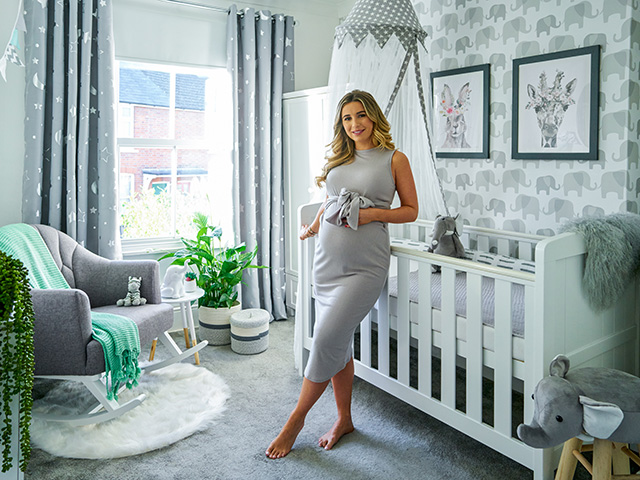 Dani Dyer in her gender-neutral nursery that was put together by Wayfair