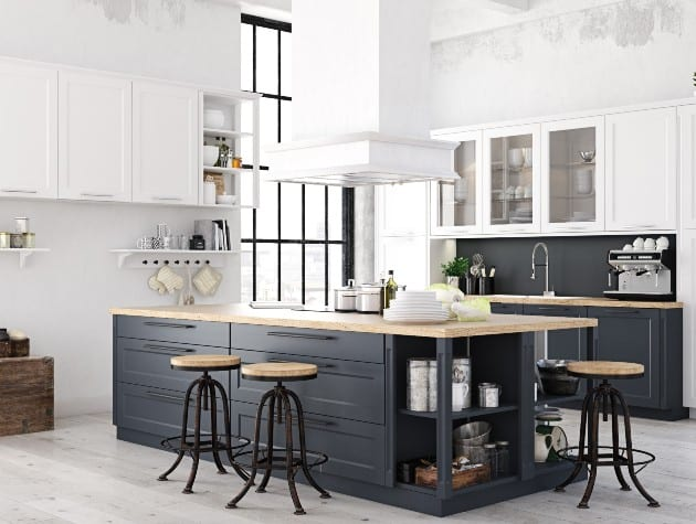 modern kitchen with island in black wood and crittall-style windows