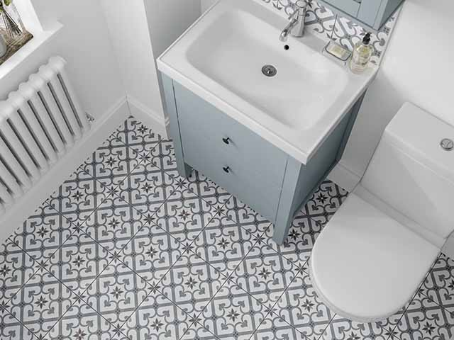 Small bathroom ideas, patterned flooring in small en-suite space, goodhomesmagazine.com