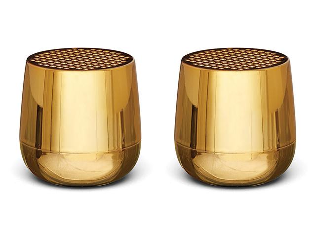 Lexon set of mini speakers in metallic gold, £60, Lexon | Good Homes Maagzine