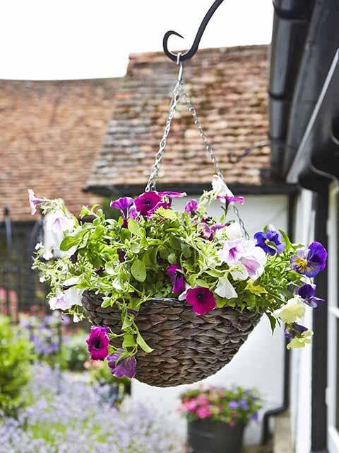 Floral hanging basket small garden ideas goodhomesmagazine.com