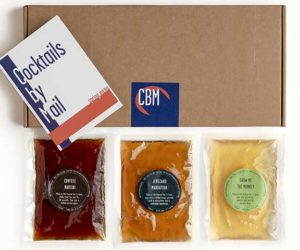 'Cocktails by Mail' cardboard box with three sachets of cocktails - Father's Day - Goodhomesmagazine.com