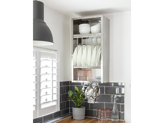 Annemarie Goodchild kitchen makeover metal plate rack | Contemporary kitchen makeover: It's my old space with a new look | Image David Giles | G