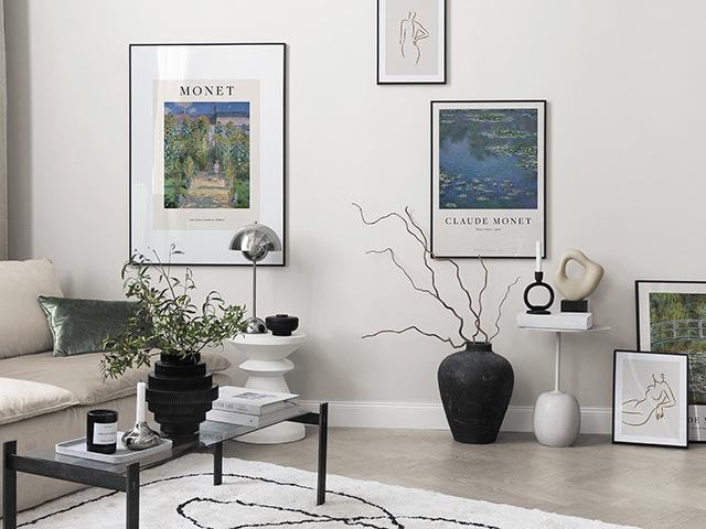 Monet poster prints in living room | Image: Desenio | Good Homes Magazine =