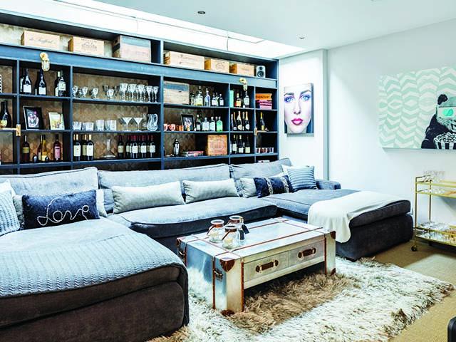 Basement bar, luxe lounging, sociable living room, goodhomesmagazine.com