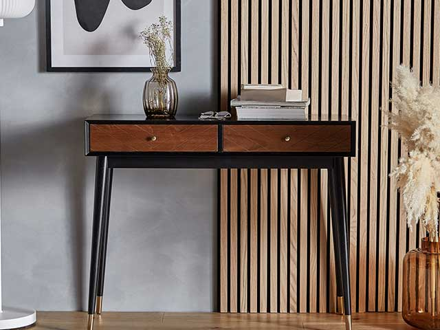 Vintage style dark wood console with different tones - mid-century modern - Goodhomesmagazine.com