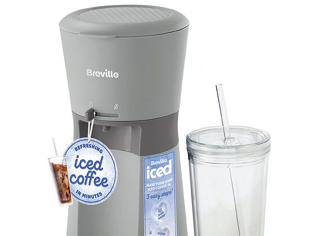 Breville iced coffee machine with reusable BPA-free plastic cup on white background