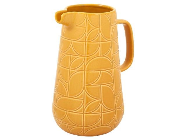 Habitat Mid-century embossed jug in mustard with graphic print