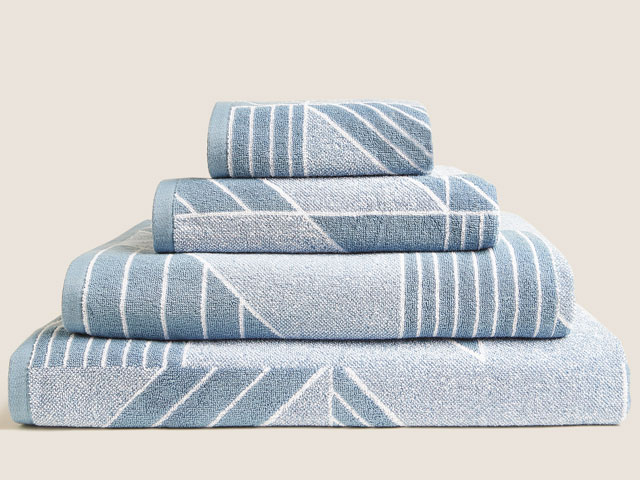 Pure cotton geometric print towels in Denim, from Marks & Spencer