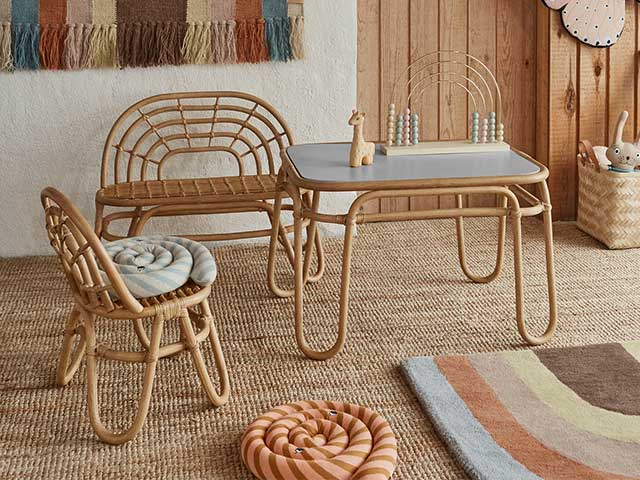 Rattan rainbow shaped mini bench, chair and table for children - Children's bedroom furniture - Goodhomesmagazine.com