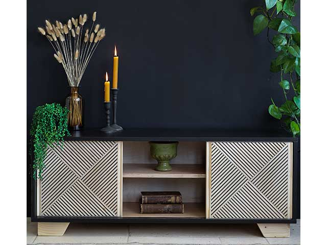 Dark wooden sideboard cabinet with light patterned doors - Goodhomesmagazine.com