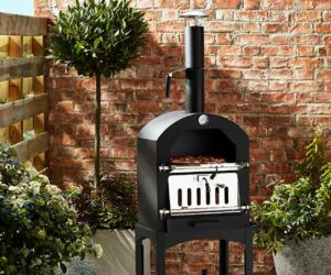 Stonebaked pizza oven against brickwork backdrop with plants