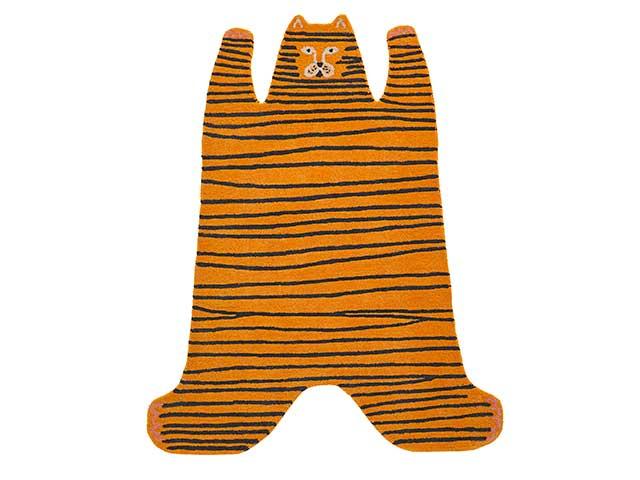 Tiger shaped rug from Habitat kid's range on white background